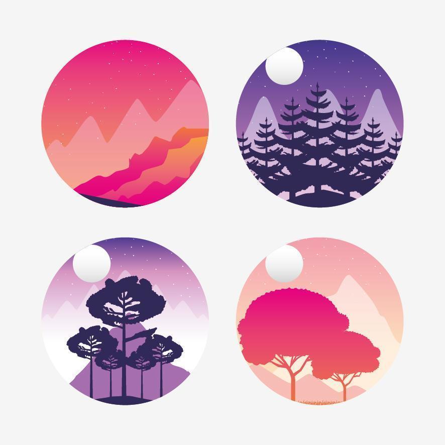 Wanderlust landscapes icon set vector