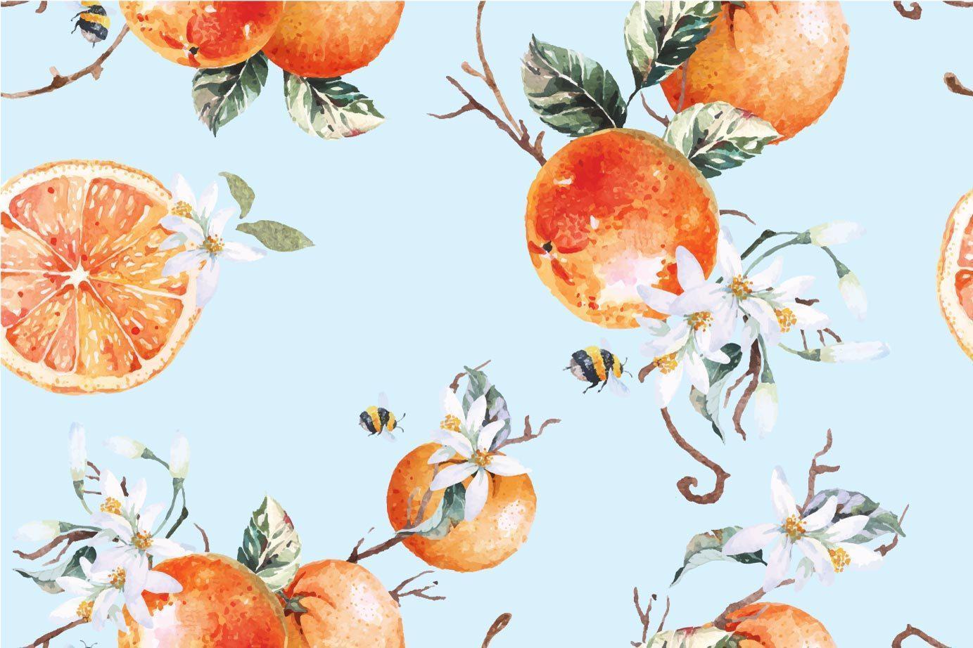 Seamless pattern of tangerines vector