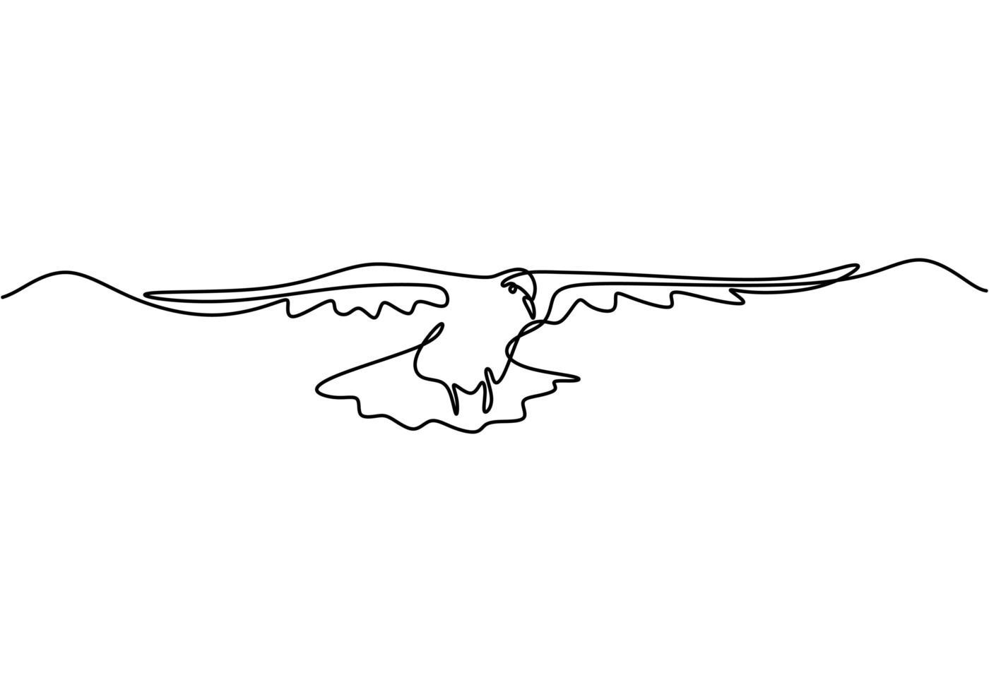dibujo continuo de una línea. animal de la paloma voladora. vector