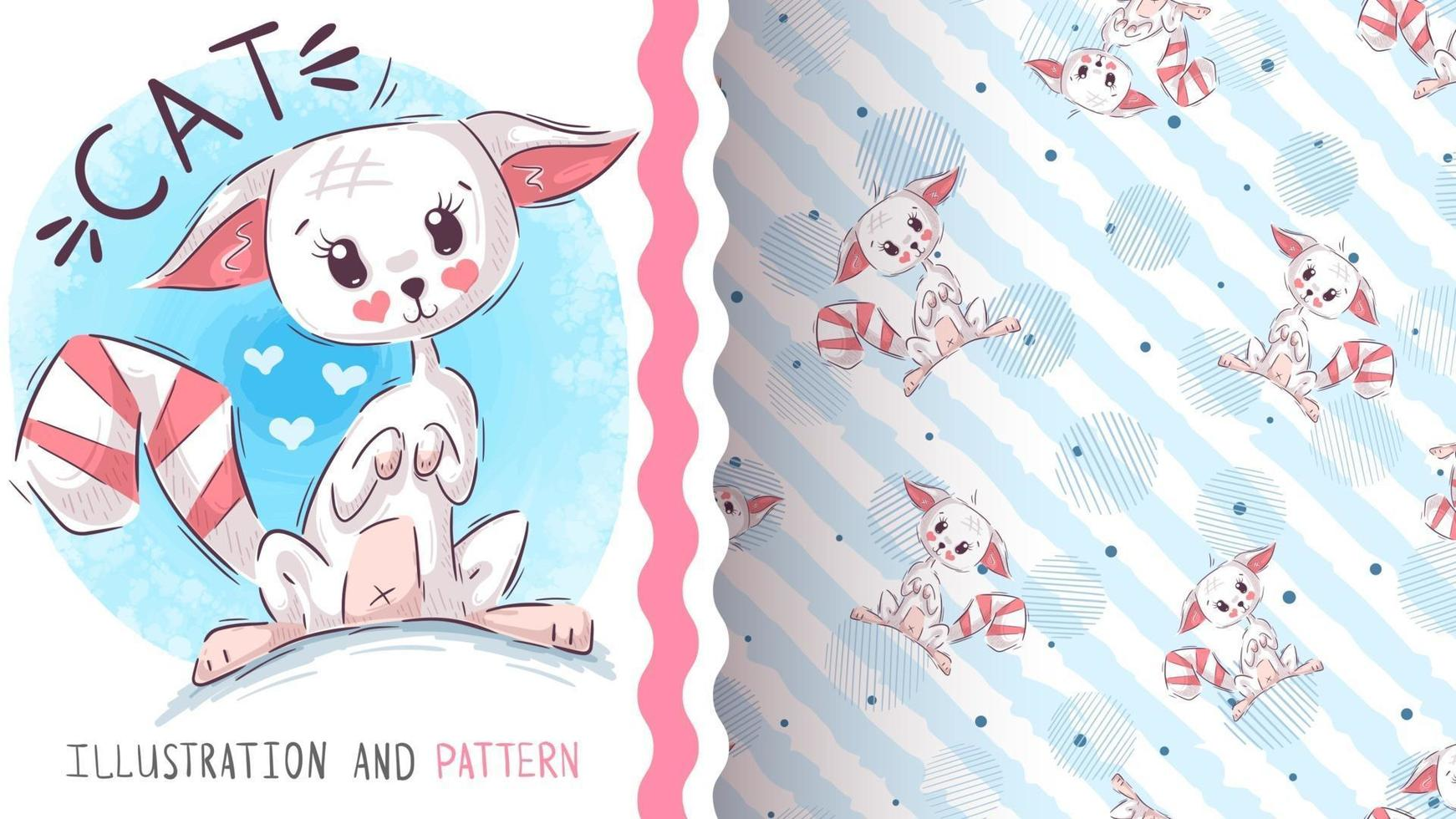 Cute cat seamless pattern vector