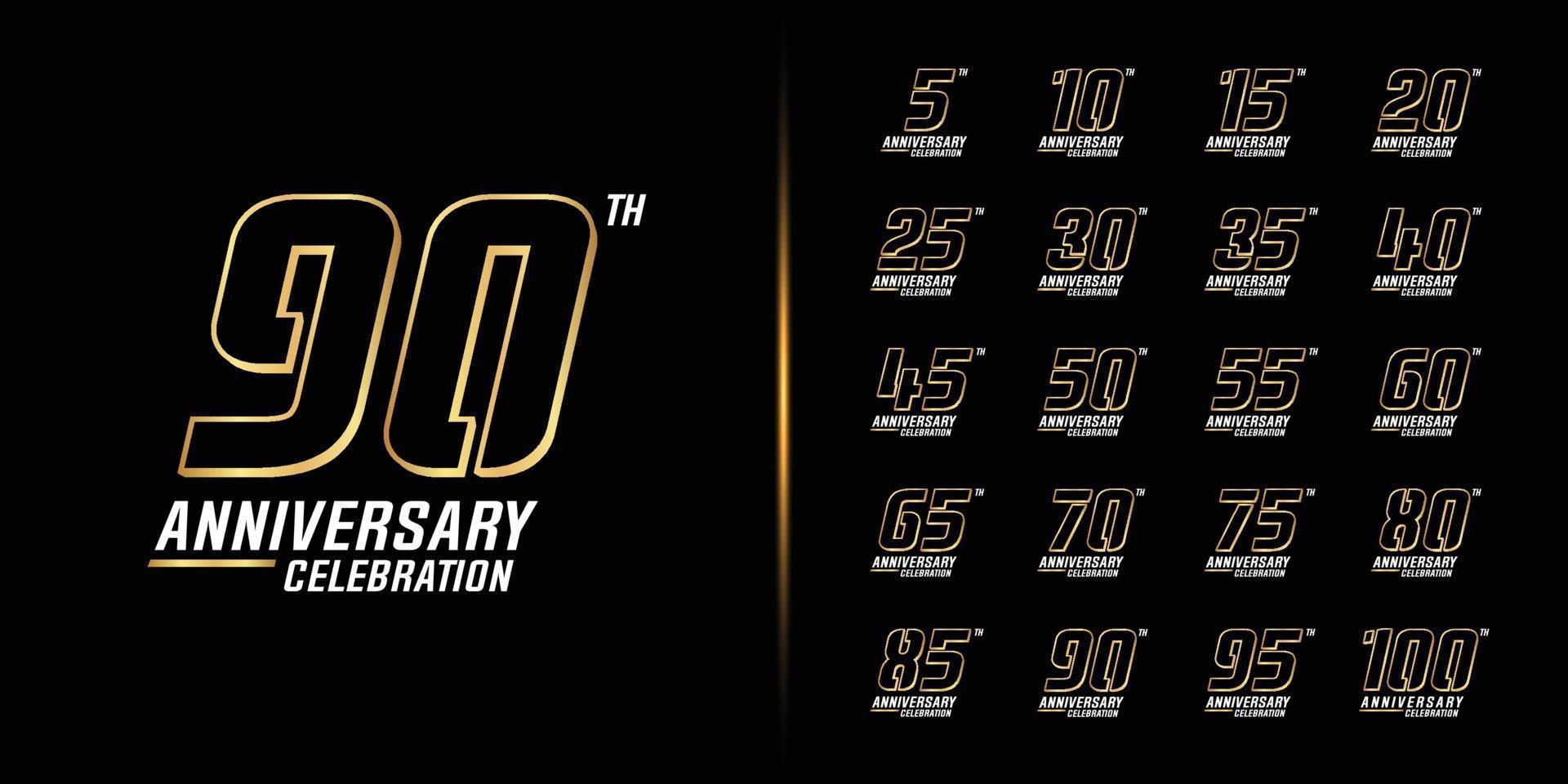 Set of premium anniversary logotype vector