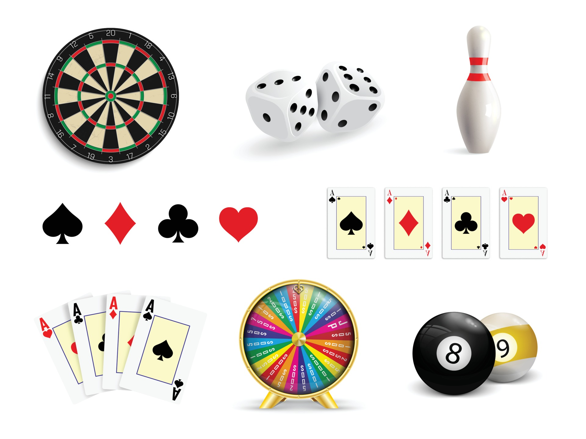 Set of illustrations of gambling. Poker, Casino, Darts, Bowling, Wheel of  Luck and Dice. 1958559 - Download Free Vectors, Clipart Graphics & Vector  Art