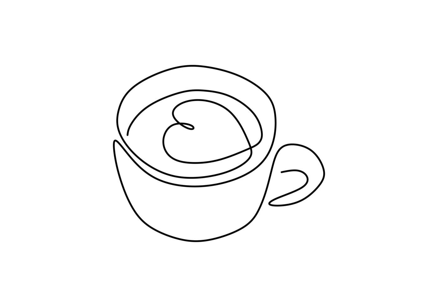 dibujo de una línea de café. taza con el arte del latte del capuchino del corazón, símbolo del amor y de la relajación. vector