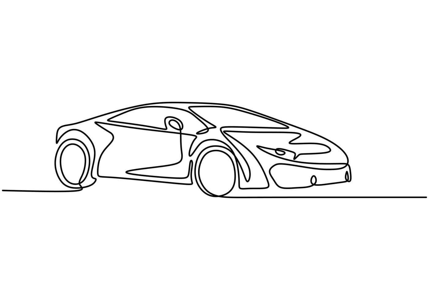 dibujo de una línea de coche. vector