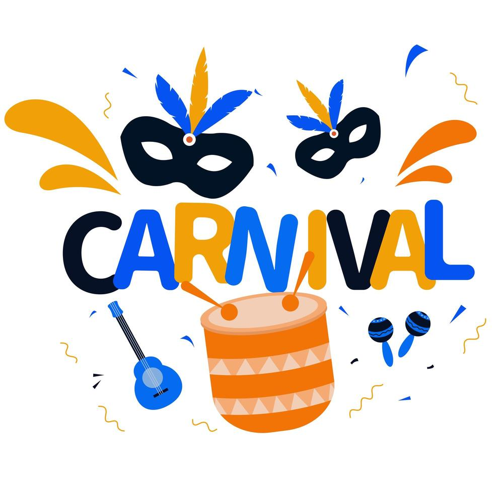 Brazilian Carnival, Rio de Janeiro music festival background vector