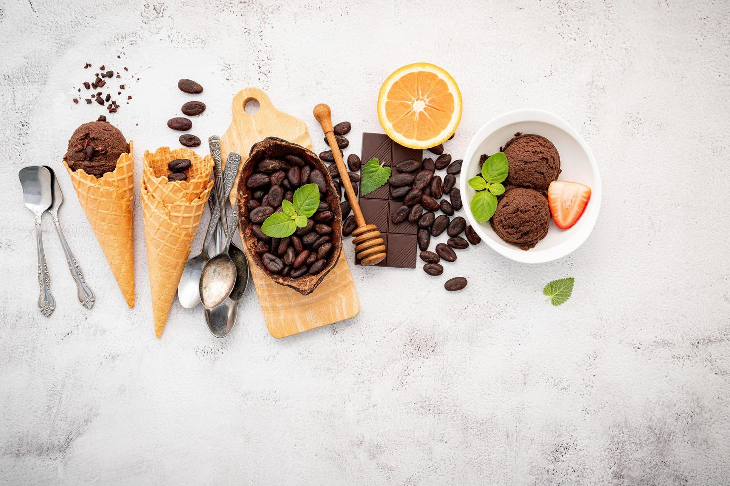 Chocolate ice cream flavours in bowl photo