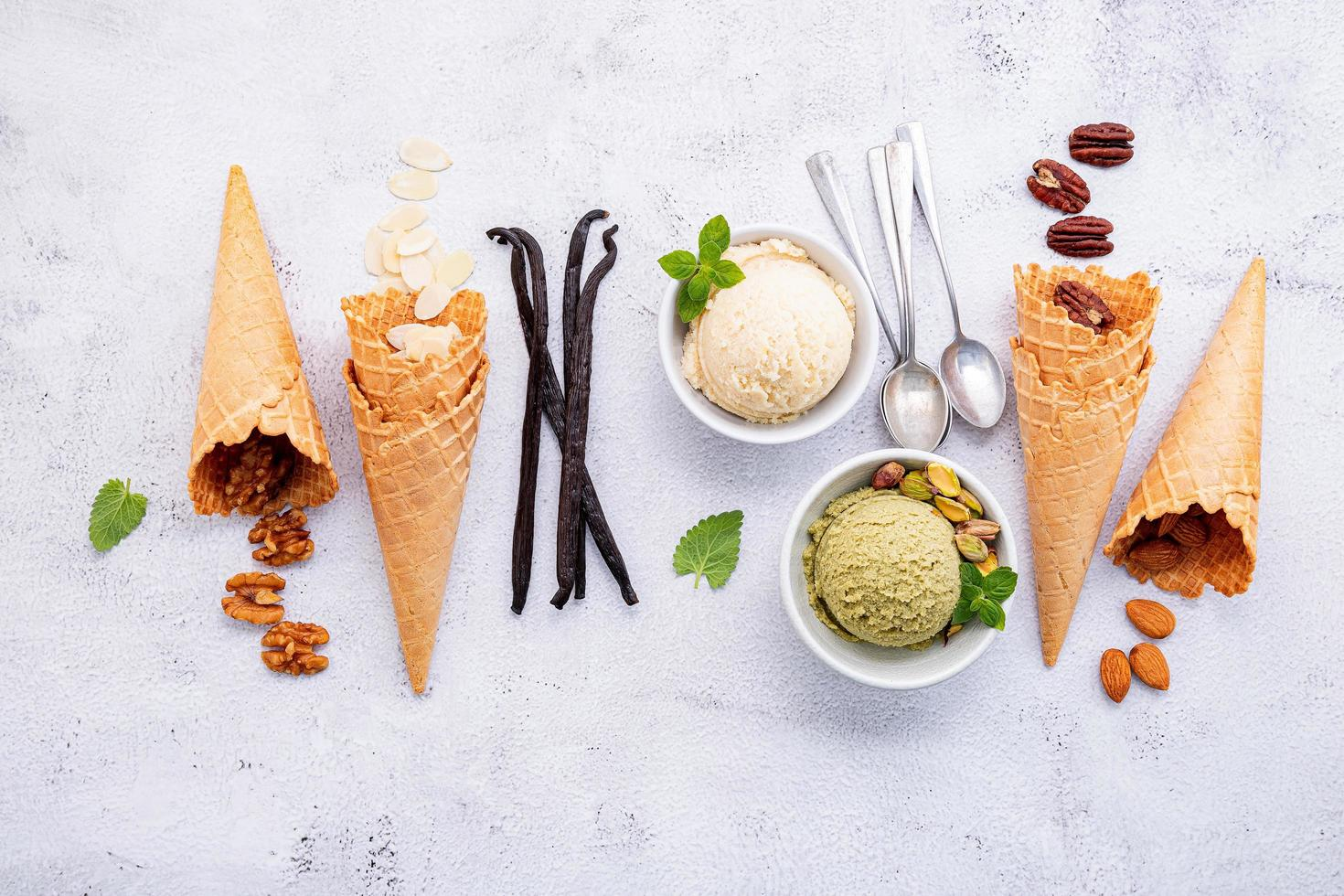 Various of ice cream flavours in bowls photo