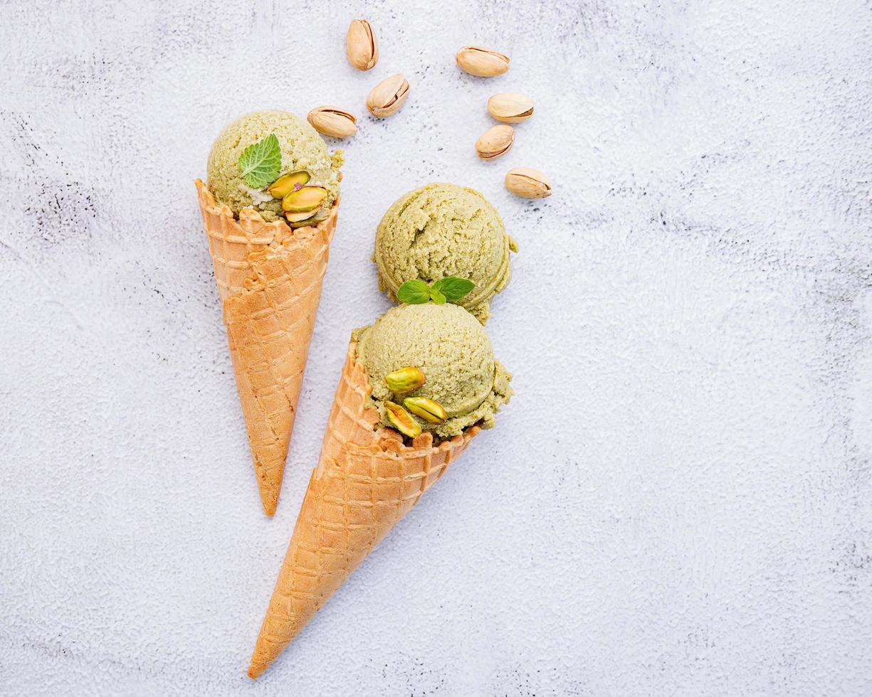 Pistachio ice cream in cones photo