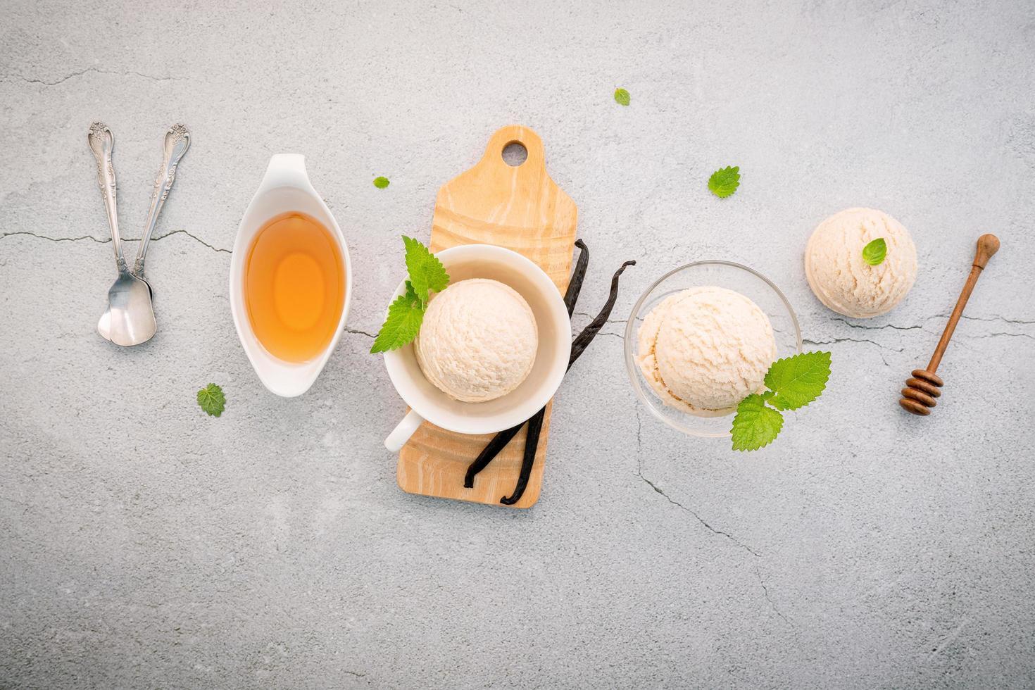 Vanilla ice cream flavor in bowl photo