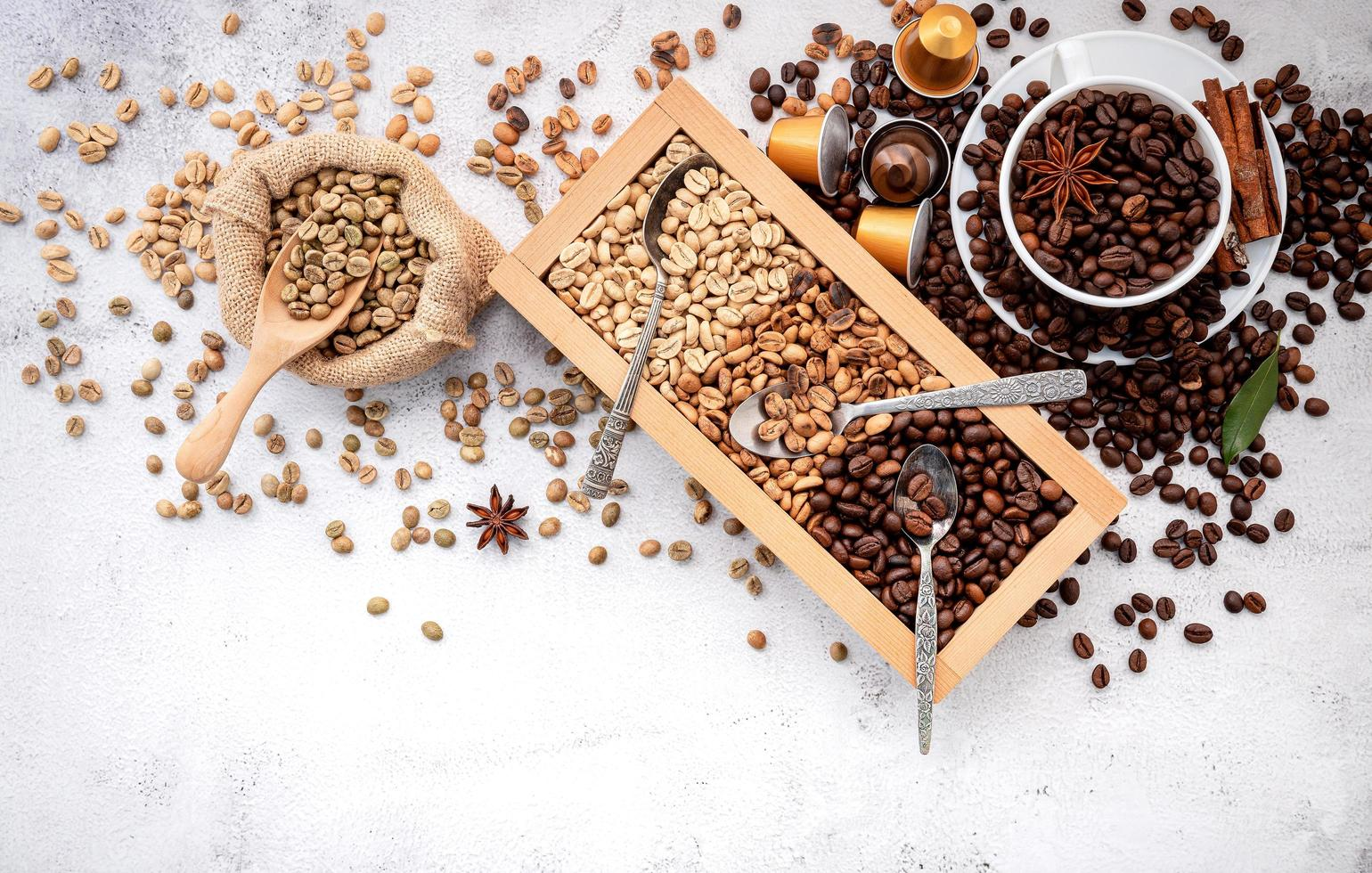 Roasted coffee beans with scoop photo