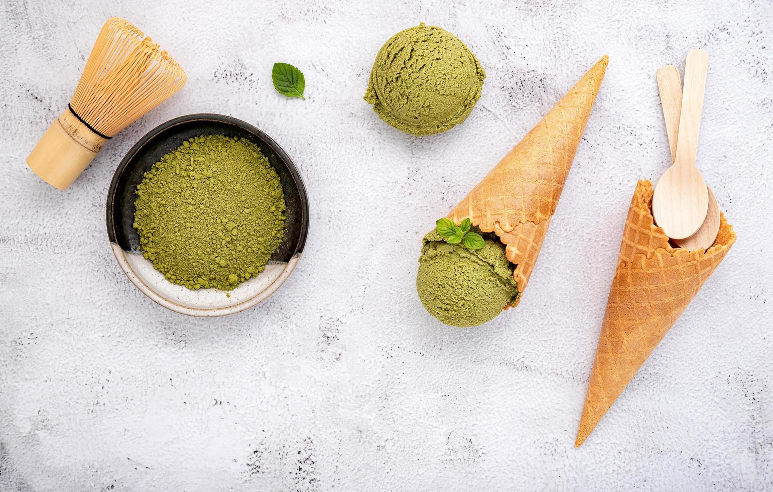 Matcha green tea ice cream with waffle cone photo
