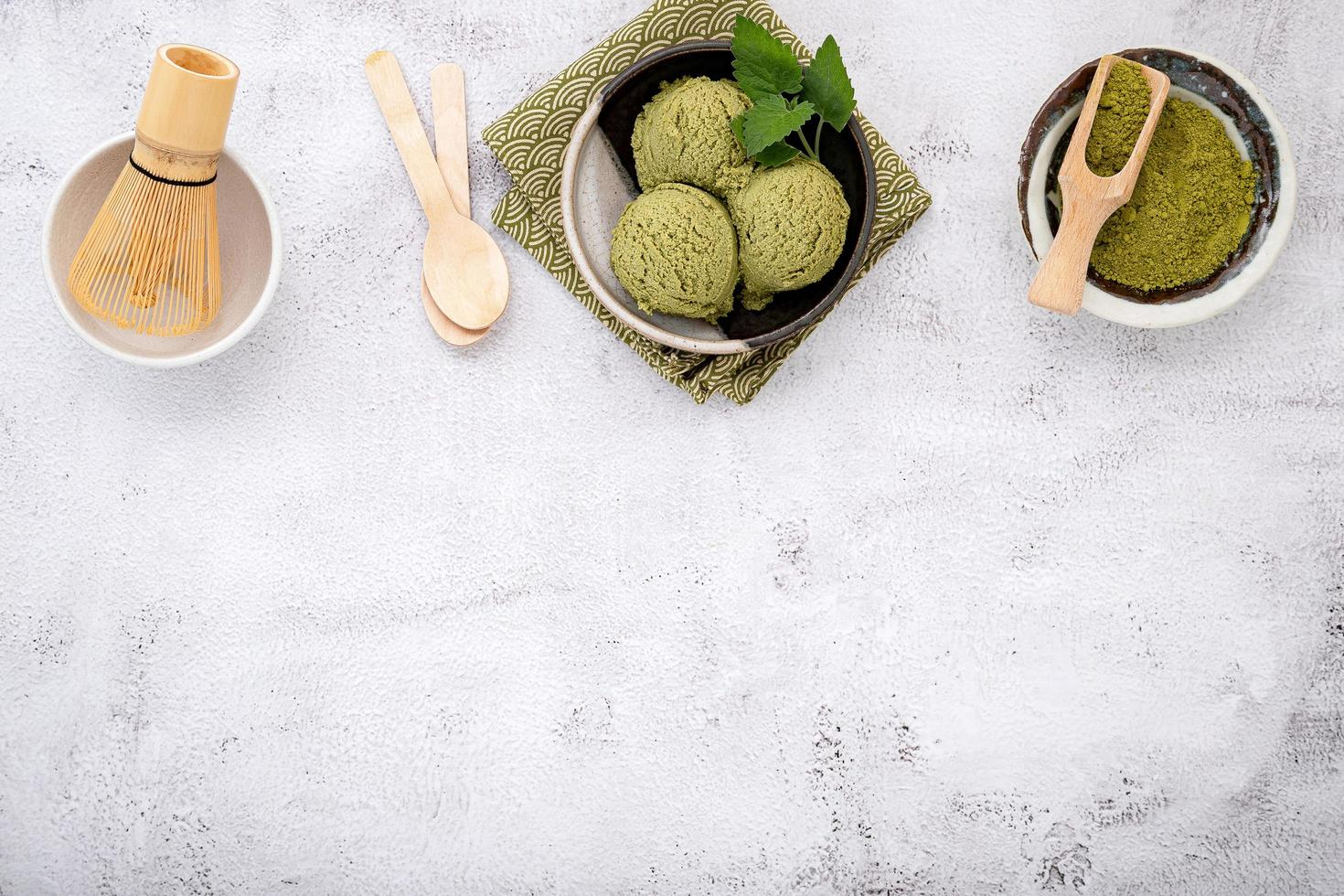 Matcha green tea ice cream photo