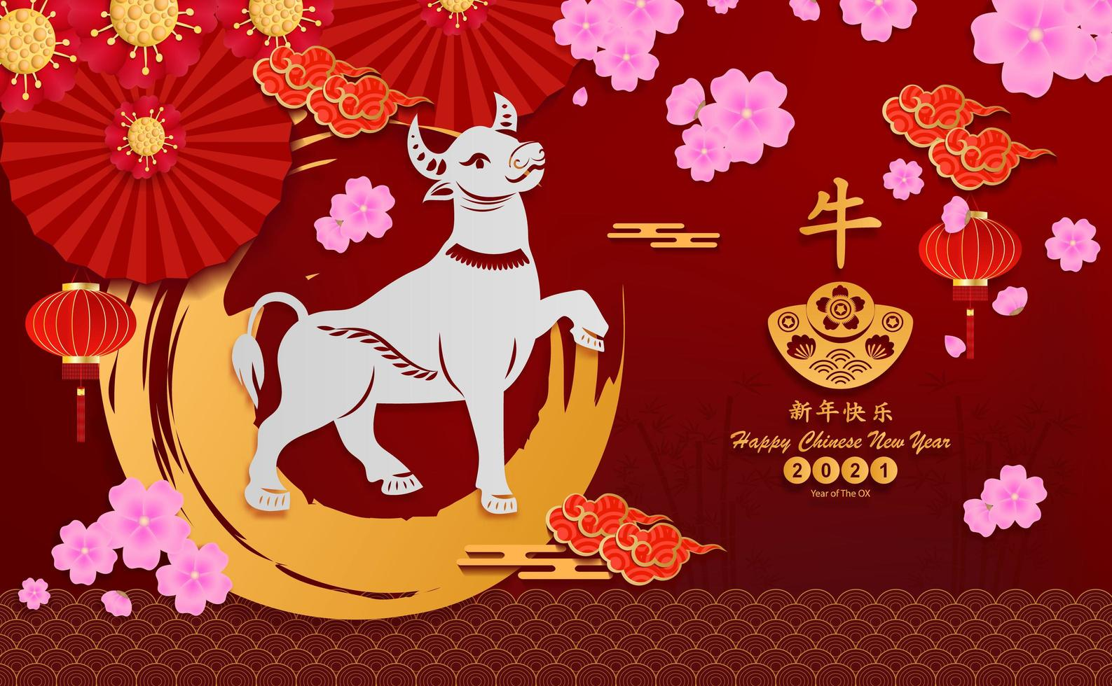 feliz año nuevo chino 2021 vector papel cortado buey elementos asiáticos y seguidor. la traducción al chino es feliz año nuevo chino 2021