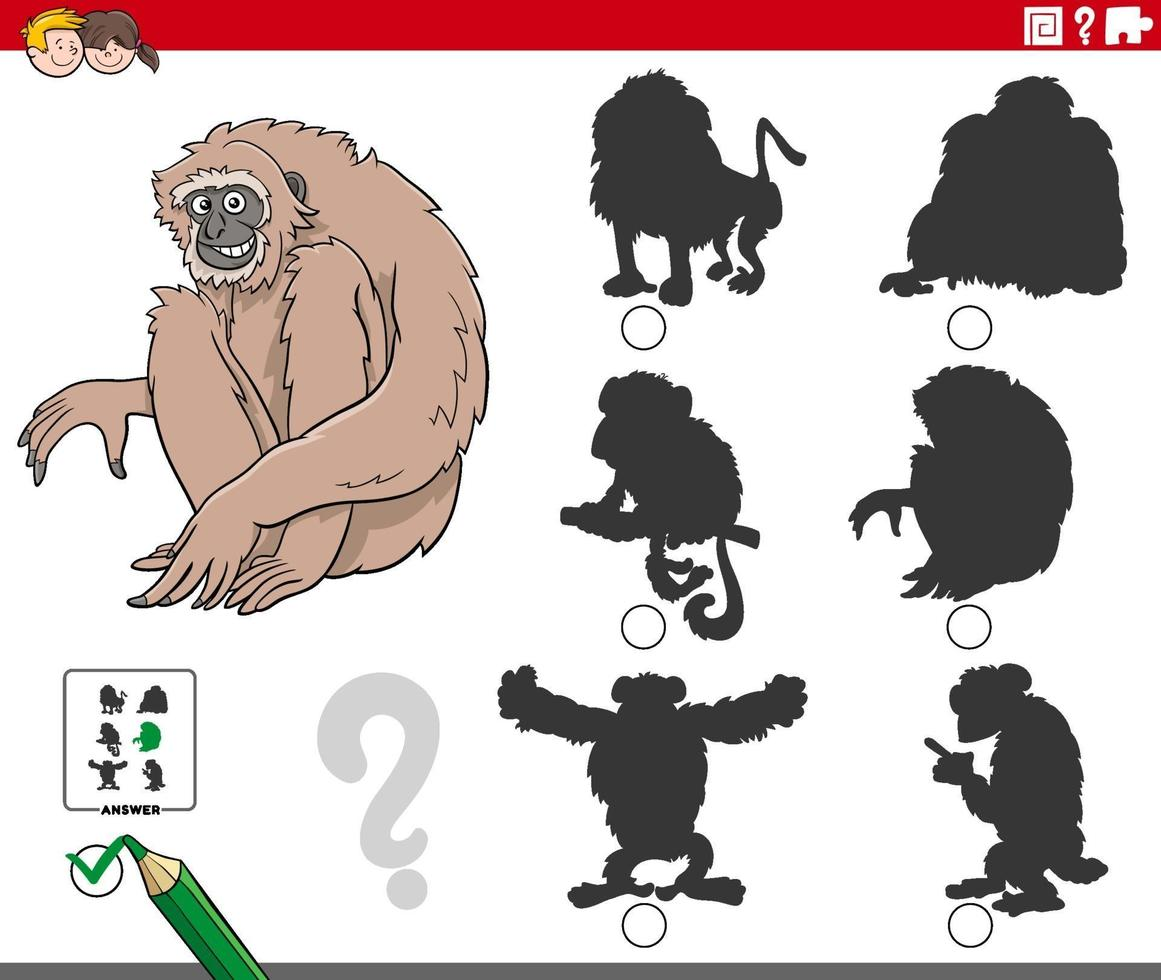 shadows task with cartoon gibbon ape animal character vector