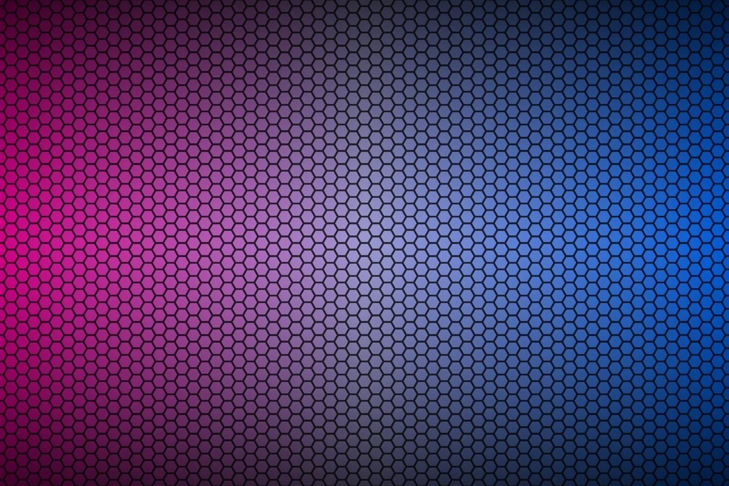 Fondo de material de malla hexagonal geométrica de neón azul y púrpura abstracto. Papel pintado con tecnología metálica perforada. vector de fondo de pantalla panorámica abstracta