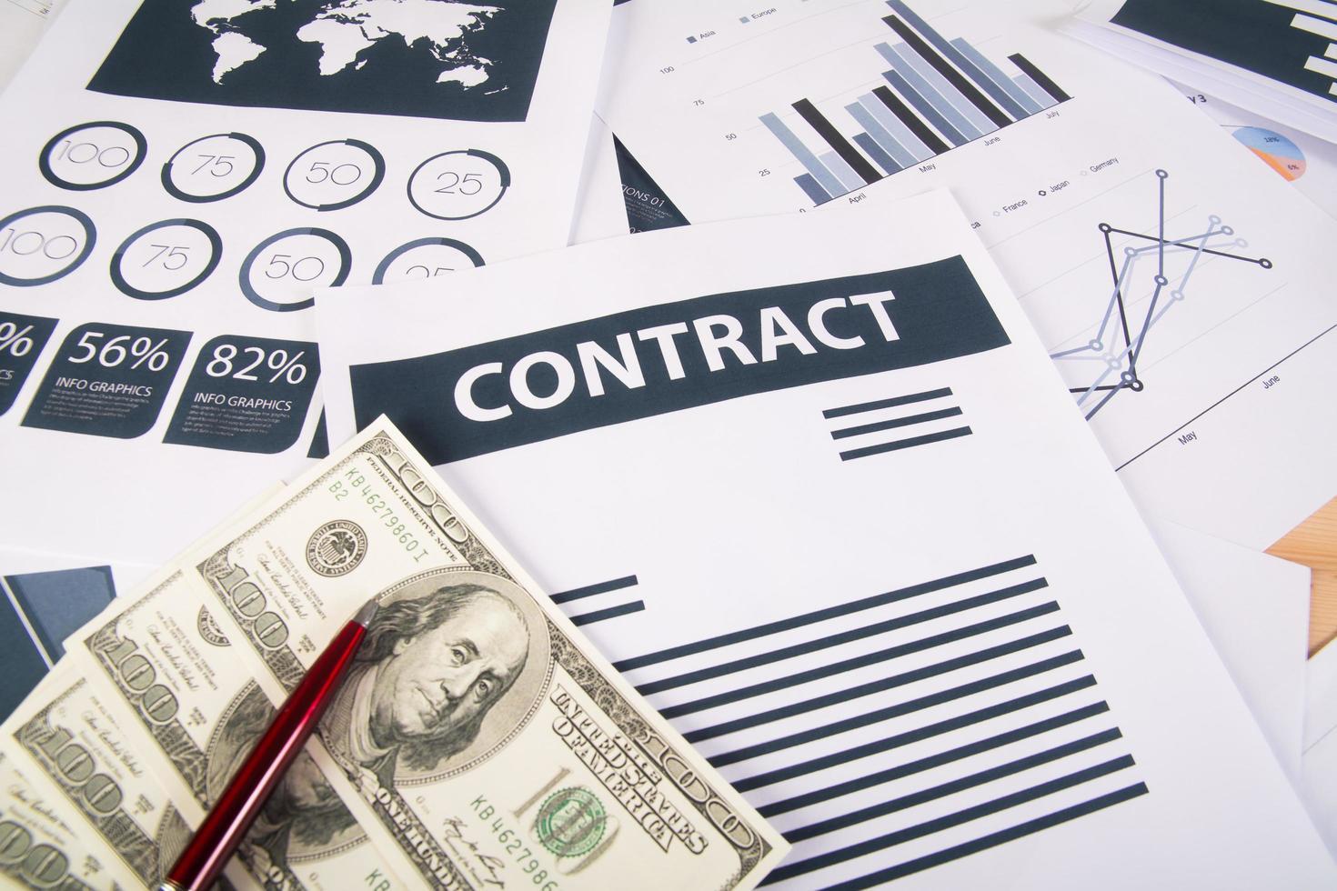 Cierre de gráficos y tablas de dinero empresarial foto