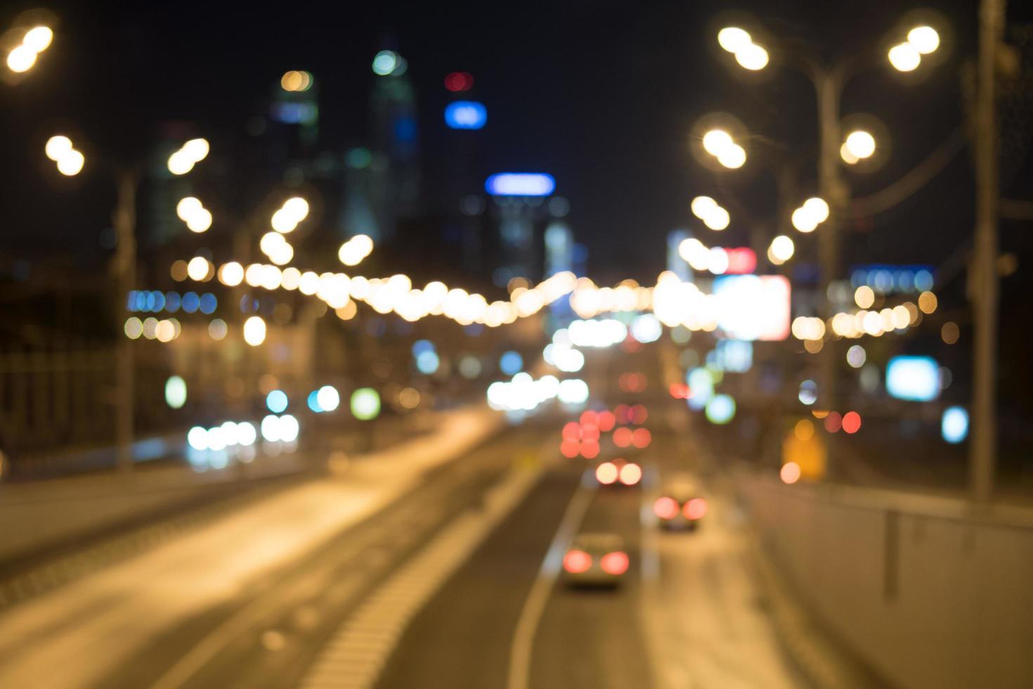 Blurred cityscape at night photo