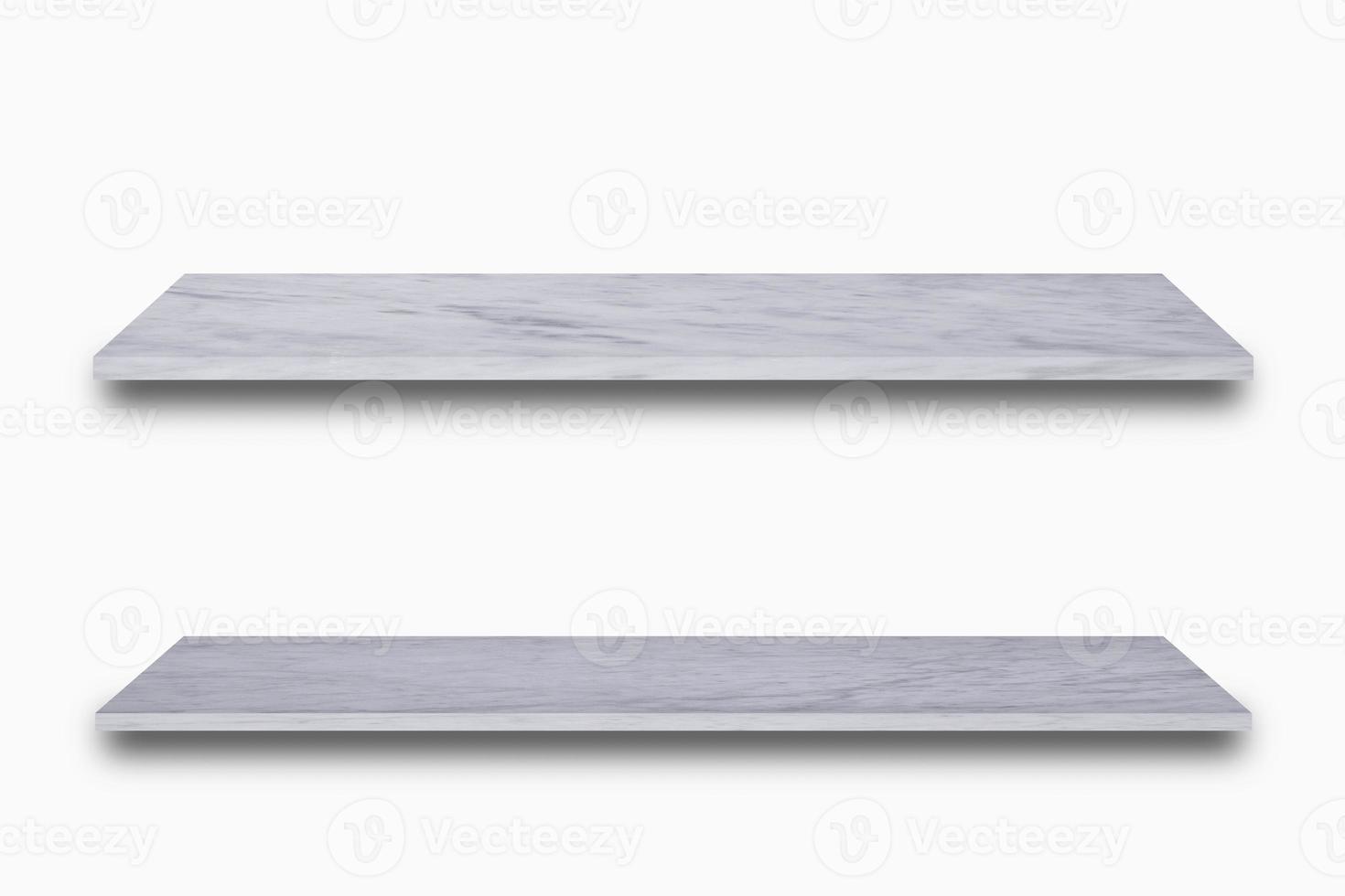 Dos estantes de mármol sobre fondo blanco. foto