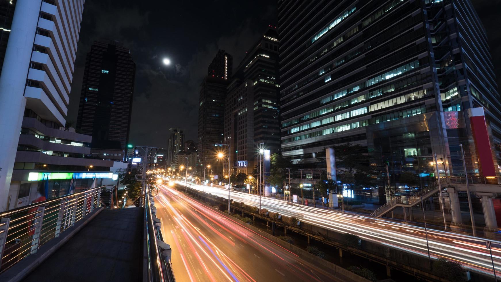 Bangkok, Thailand, 2020 - Car traffic at night photo