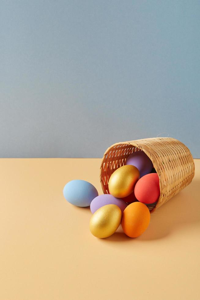 Eggs spilling out of basket photo