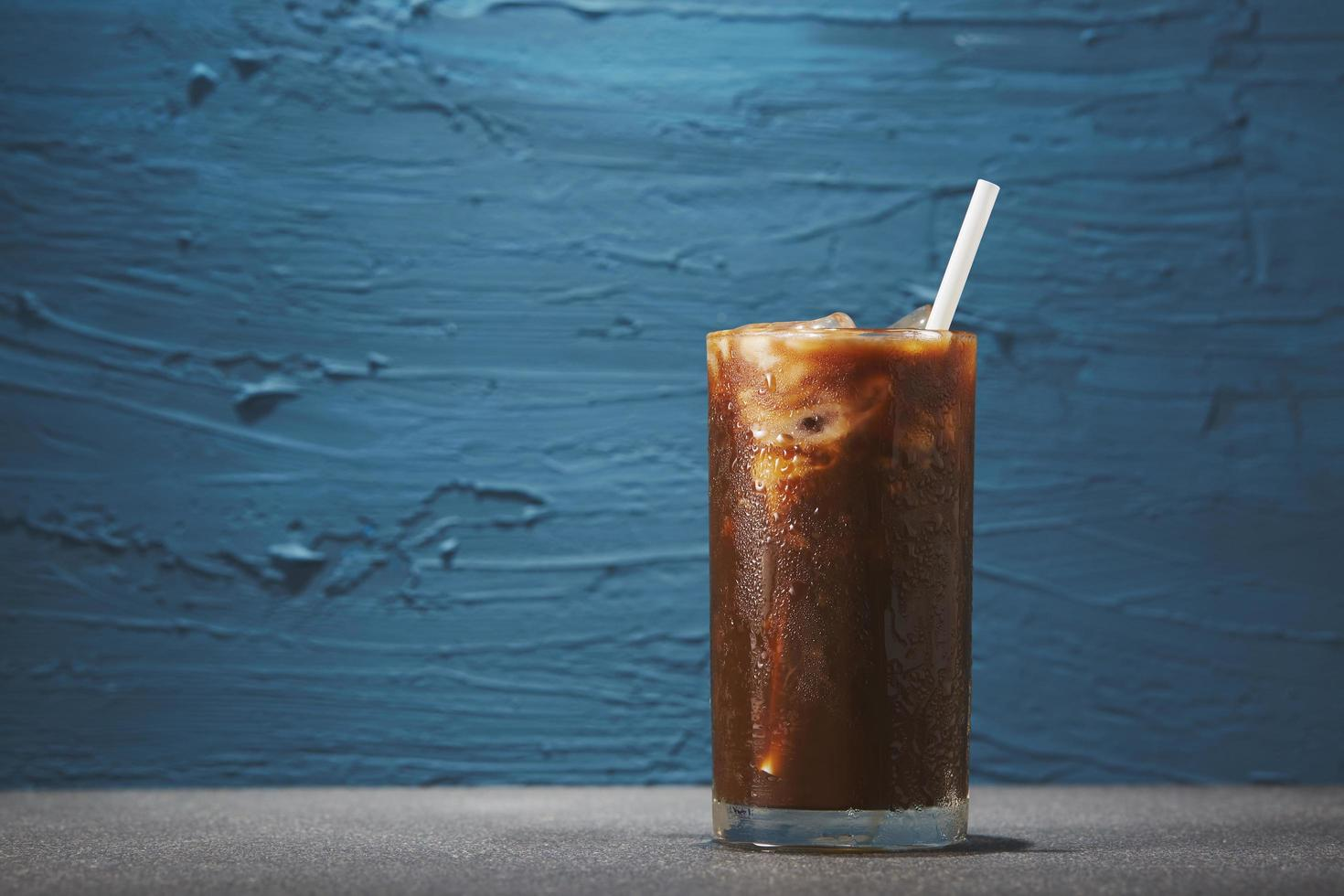 Ice coffee in glass photo