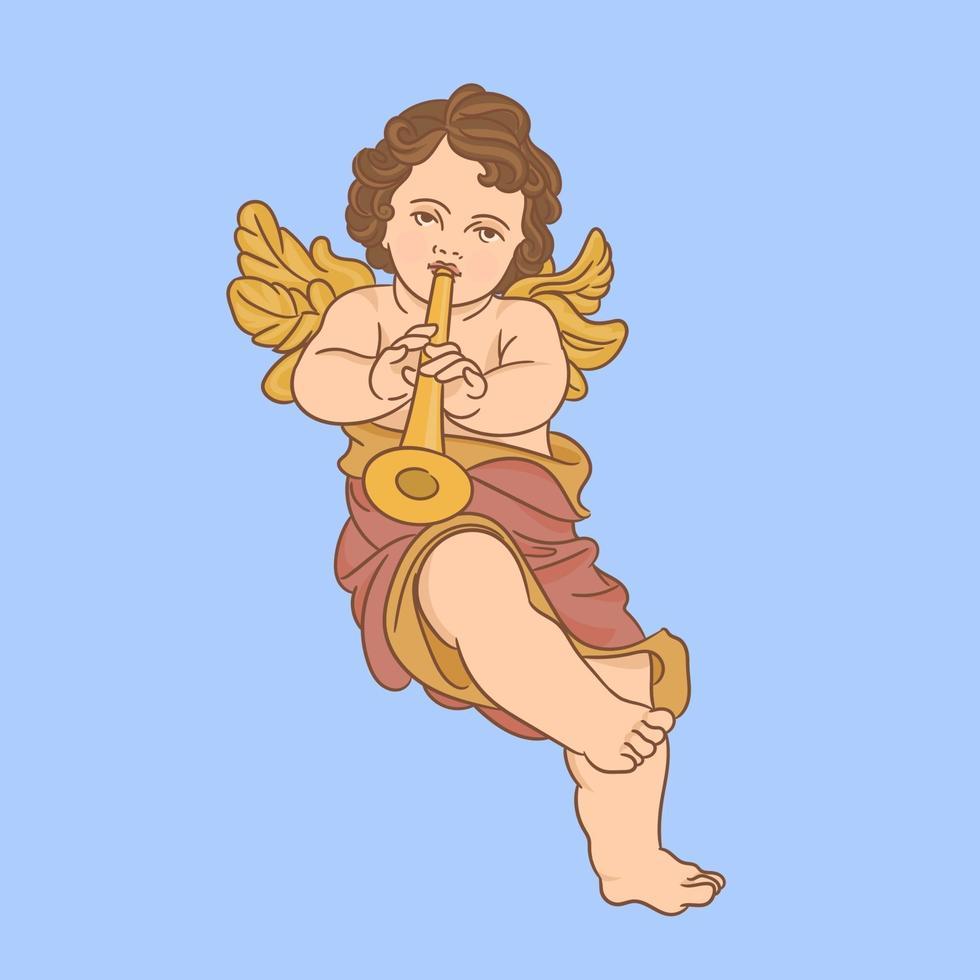 ángel tocando la trompeta vector