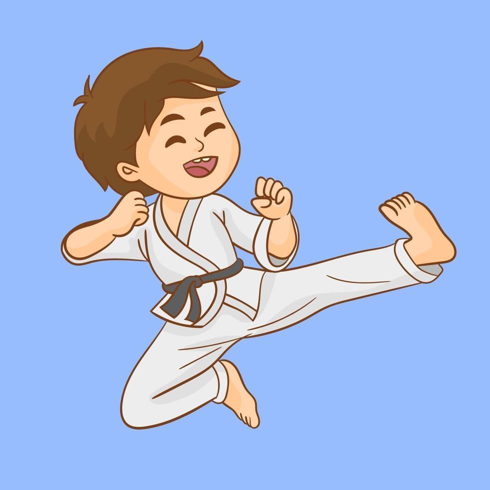 Cute little karate boy vector