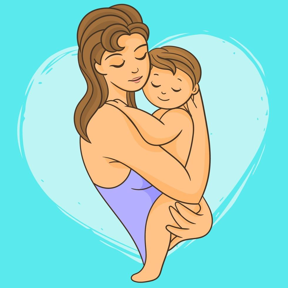 Mother with her newborn baby vector