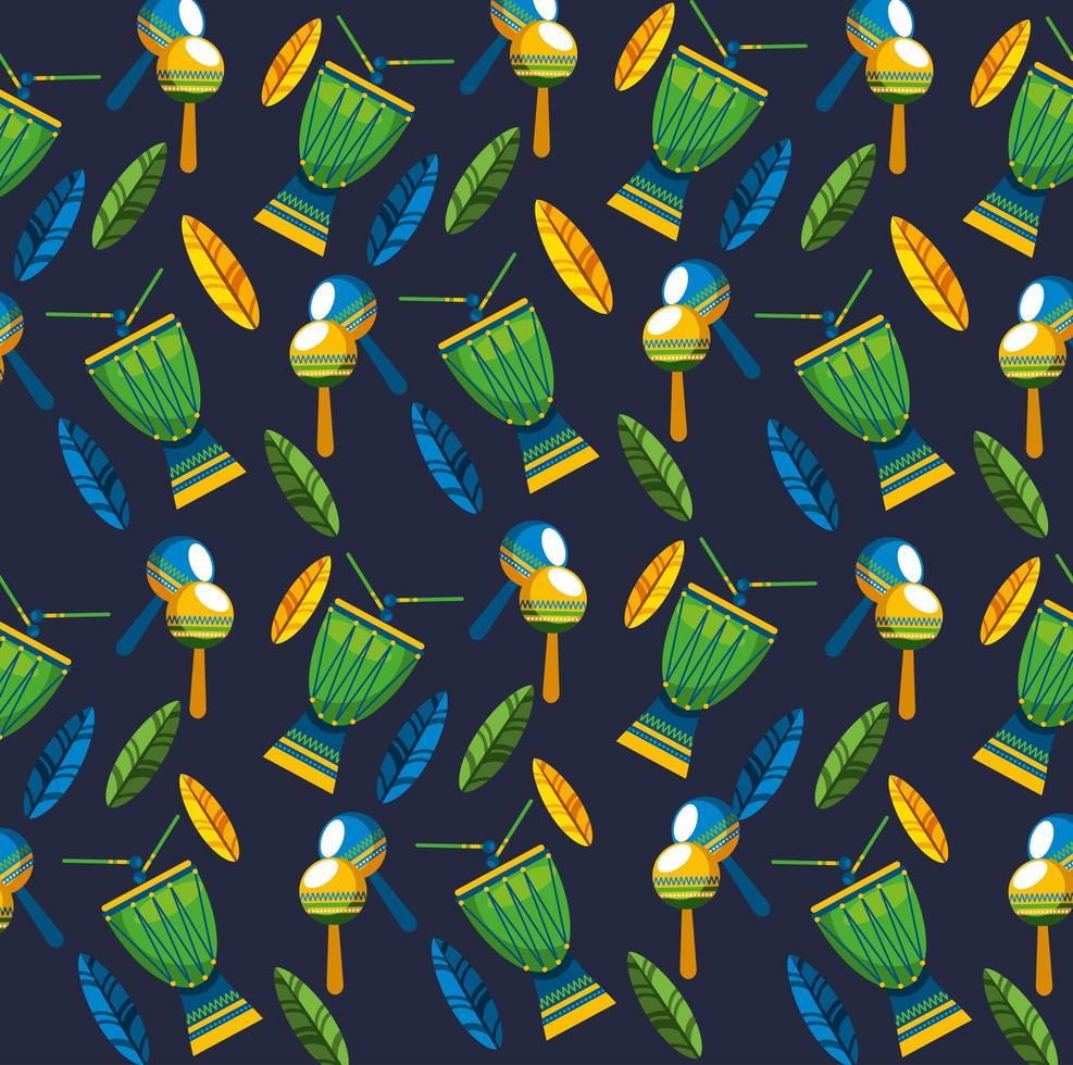 Brazilian Carnival celebration with music instruments pattern vector