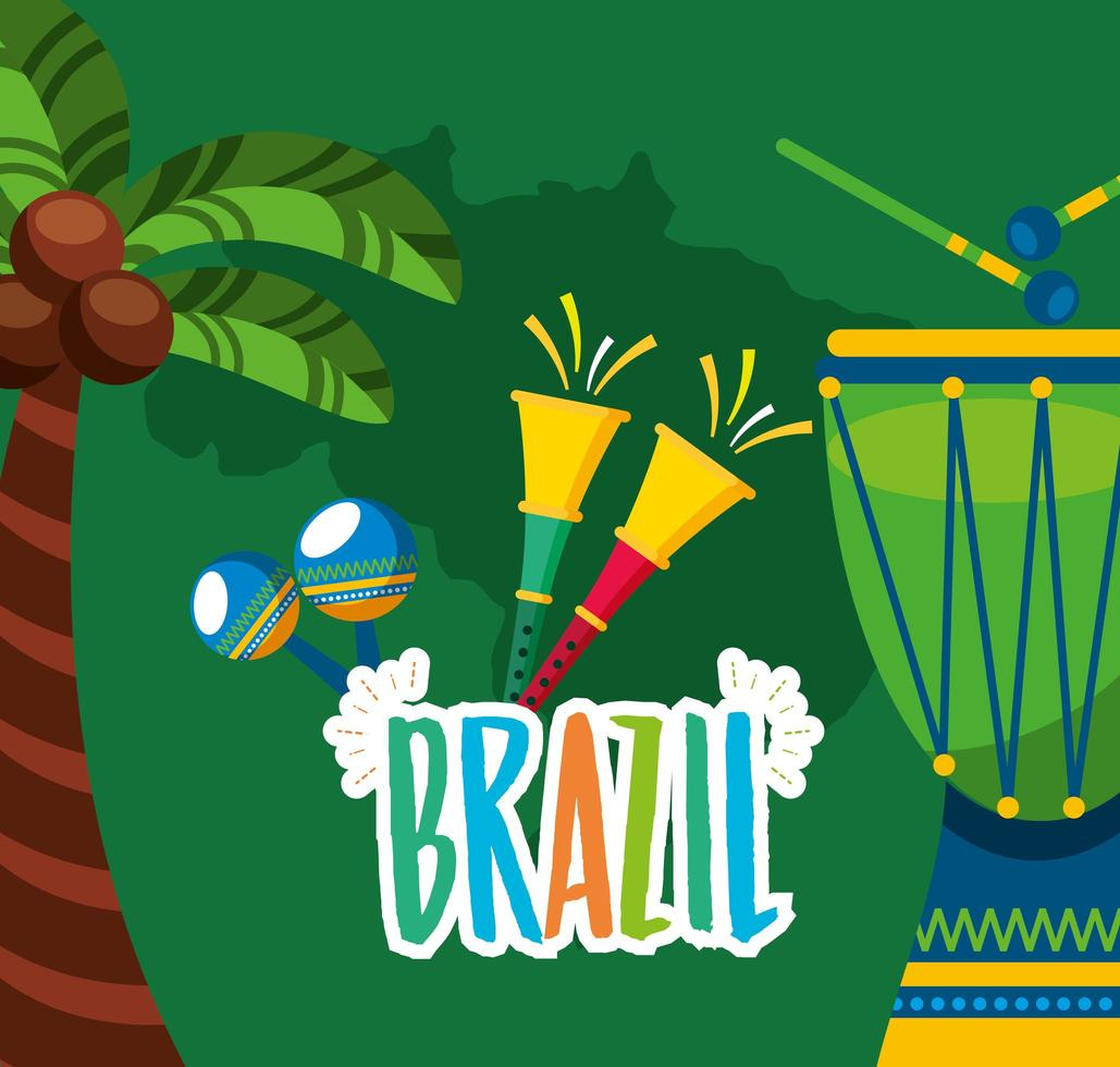 Brazilian Carnival celebration with music instruments vector