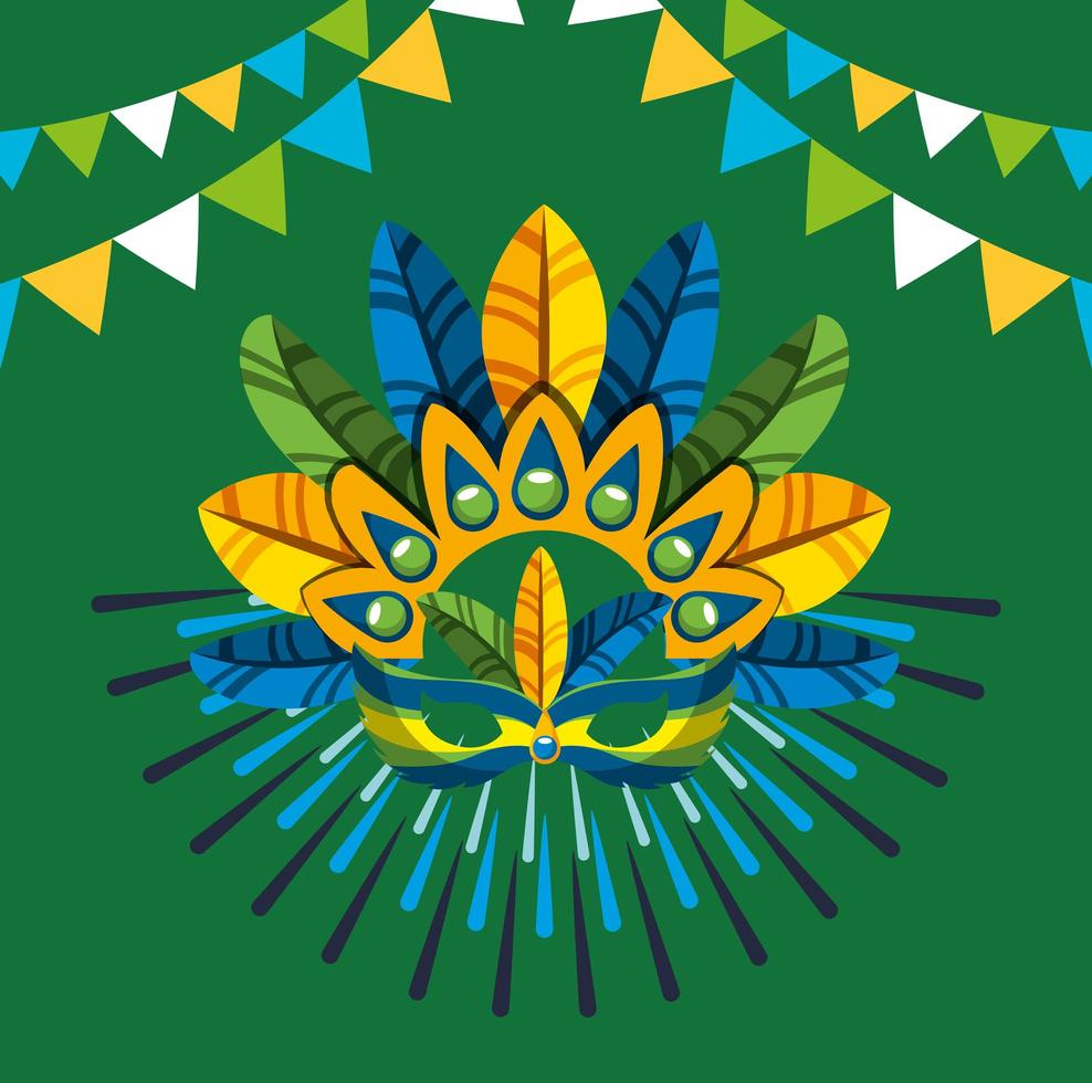 Brazilian Carnival celebration with feathers hat vector
