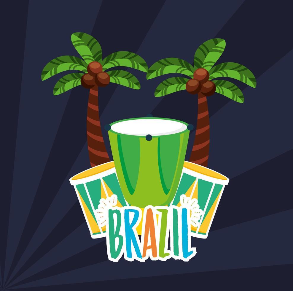 Brazilian Carnival celebration with  bongos instruments vector