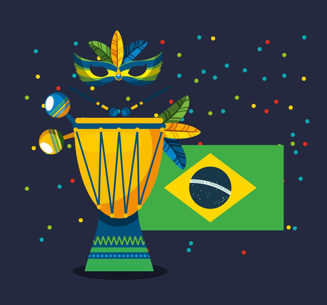 Brazilian Carnival celebration with flag vector