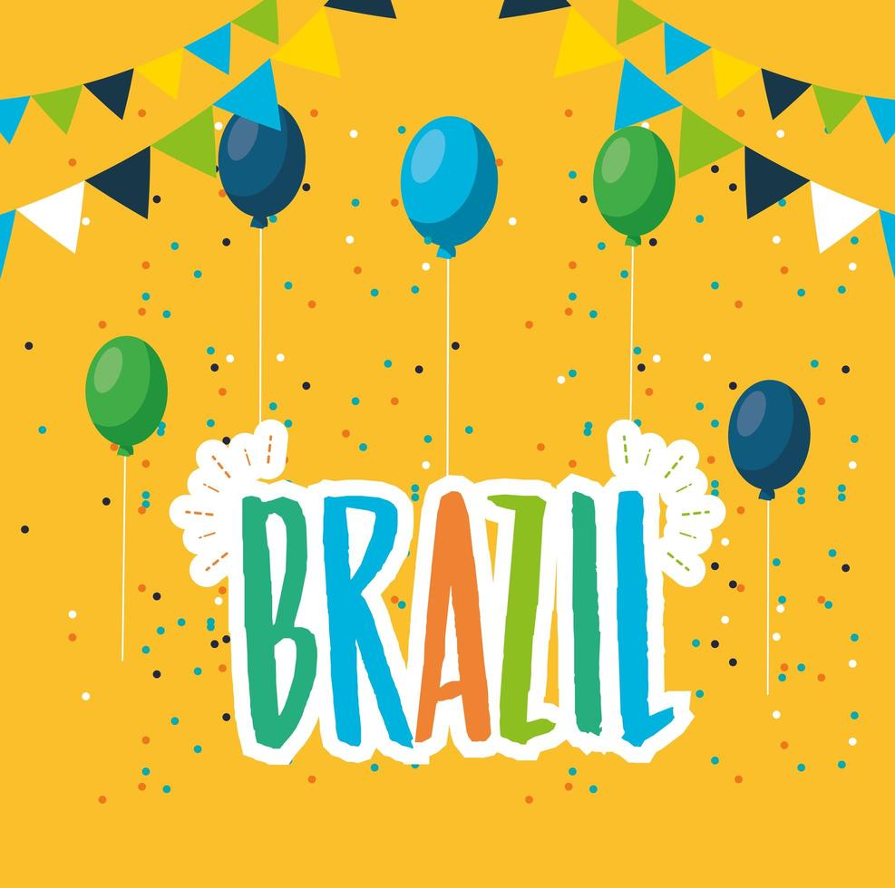 canival of rio brazilian celebration with lettering and balloons vector