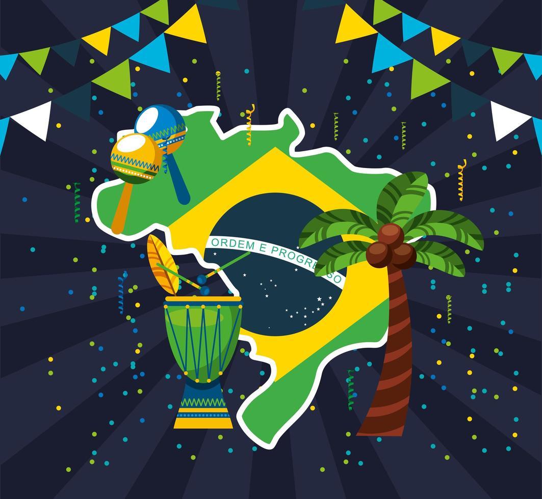 Brazilian Carnival celebration with flag vector