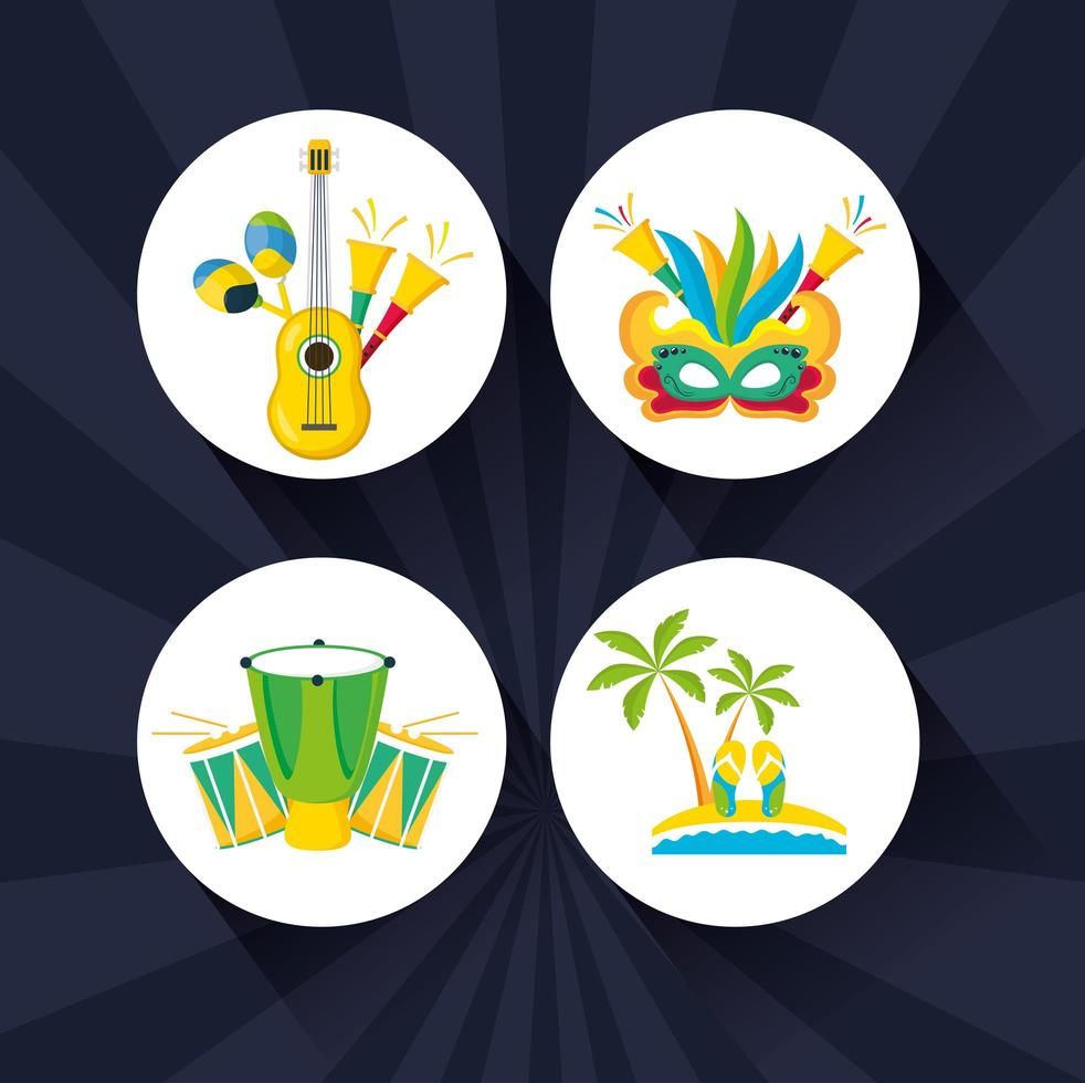 Brazilian Carnival celebration icon set vector