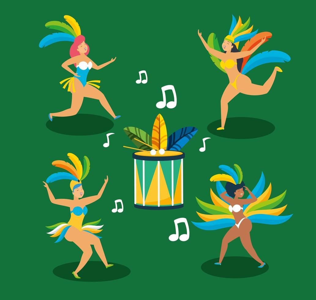Brazilian girls in Carnival costumes dancing set vector