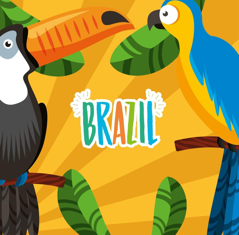 Brazilian Carnival celebration with lettering and toucan vector