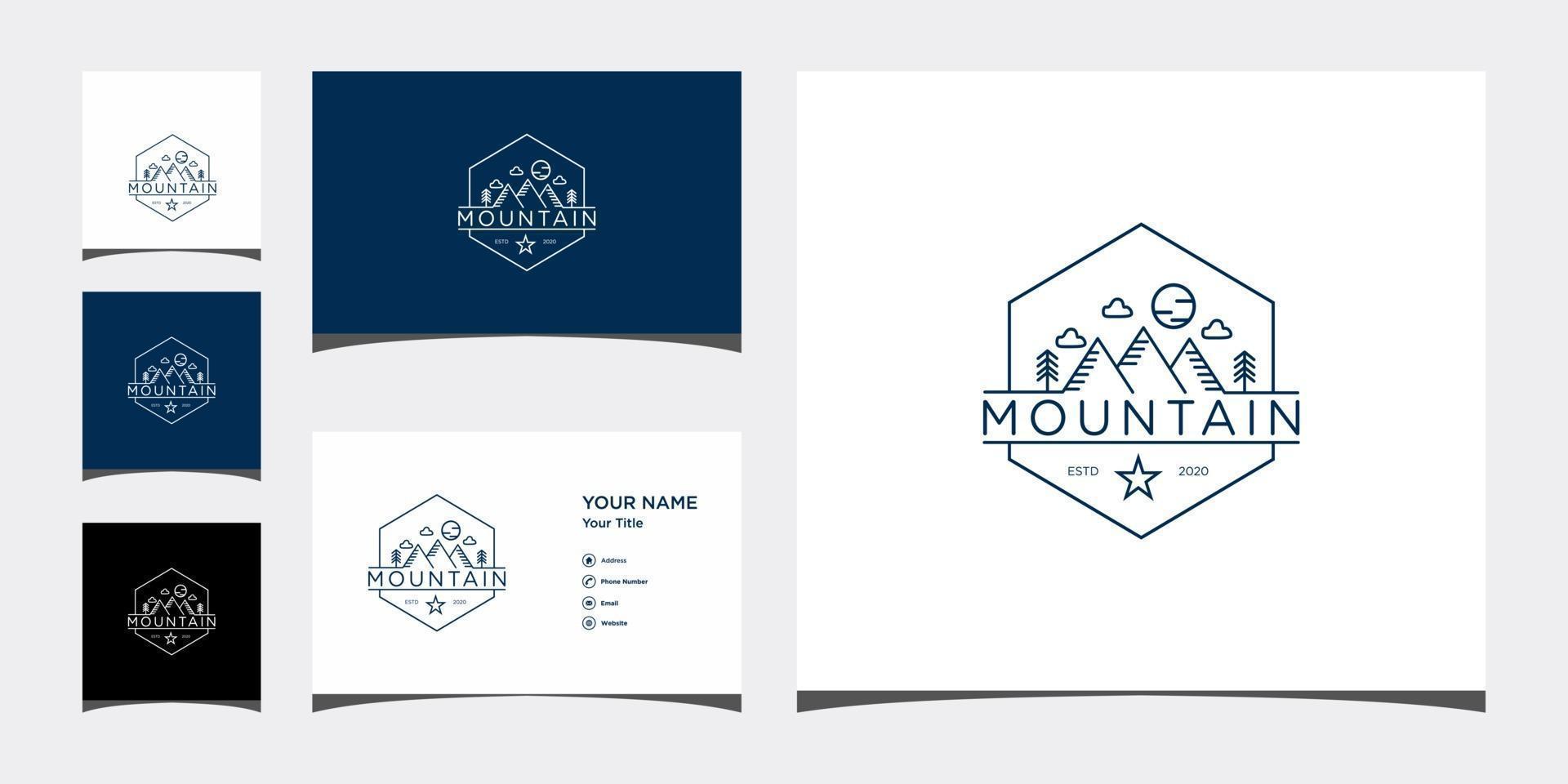 Plantillas de logotipo de línea de montaña y diseño de tarjetas de visita vector premium