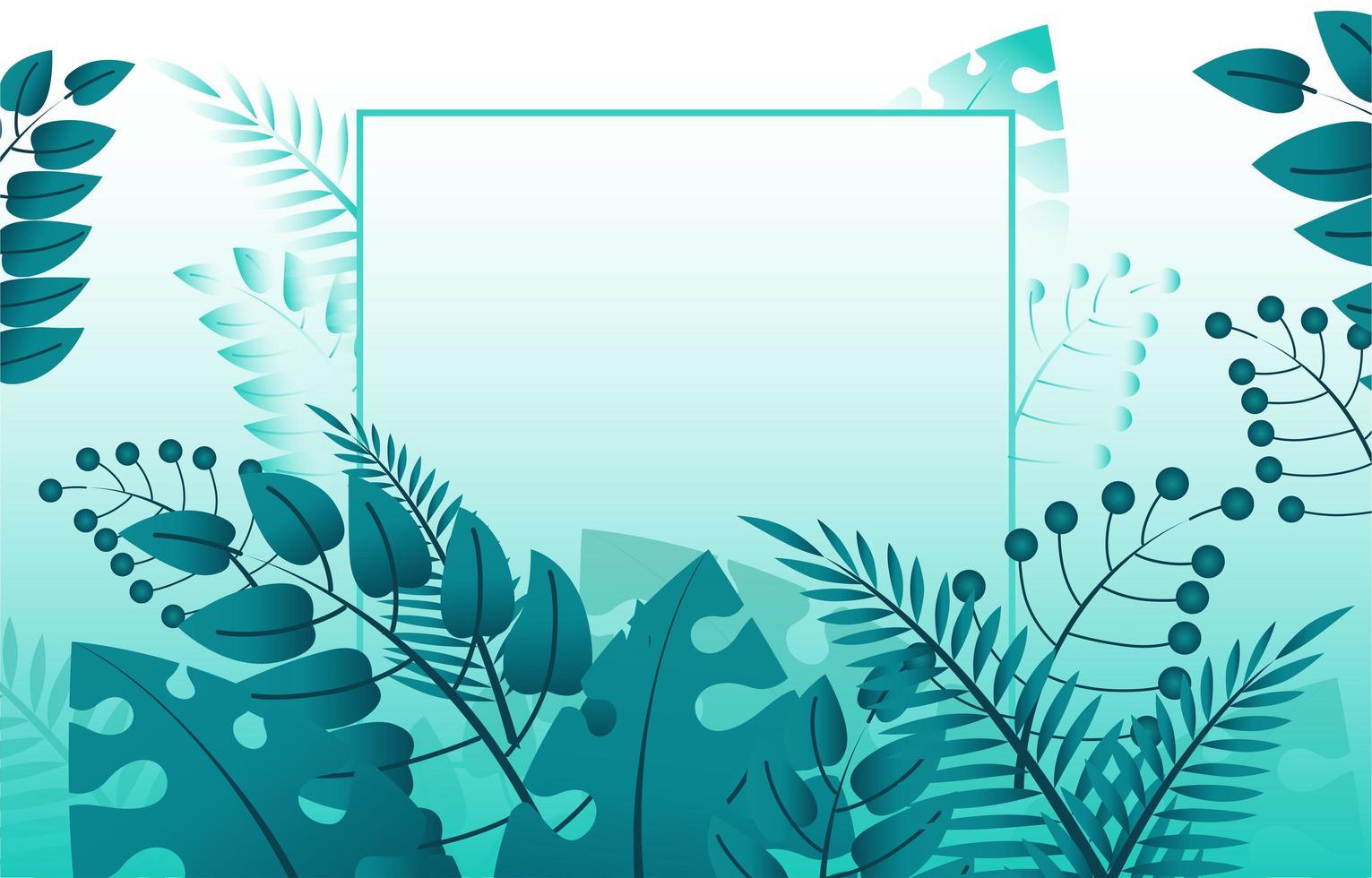 Fondo de follaje verde con marco de línea vector