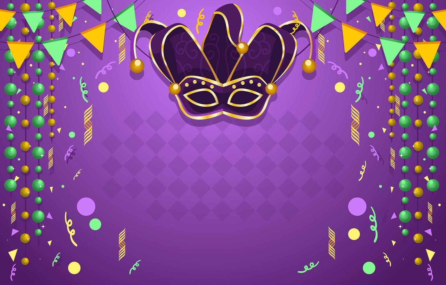 Fierce Mardi Gras Mask Confetti Background vector