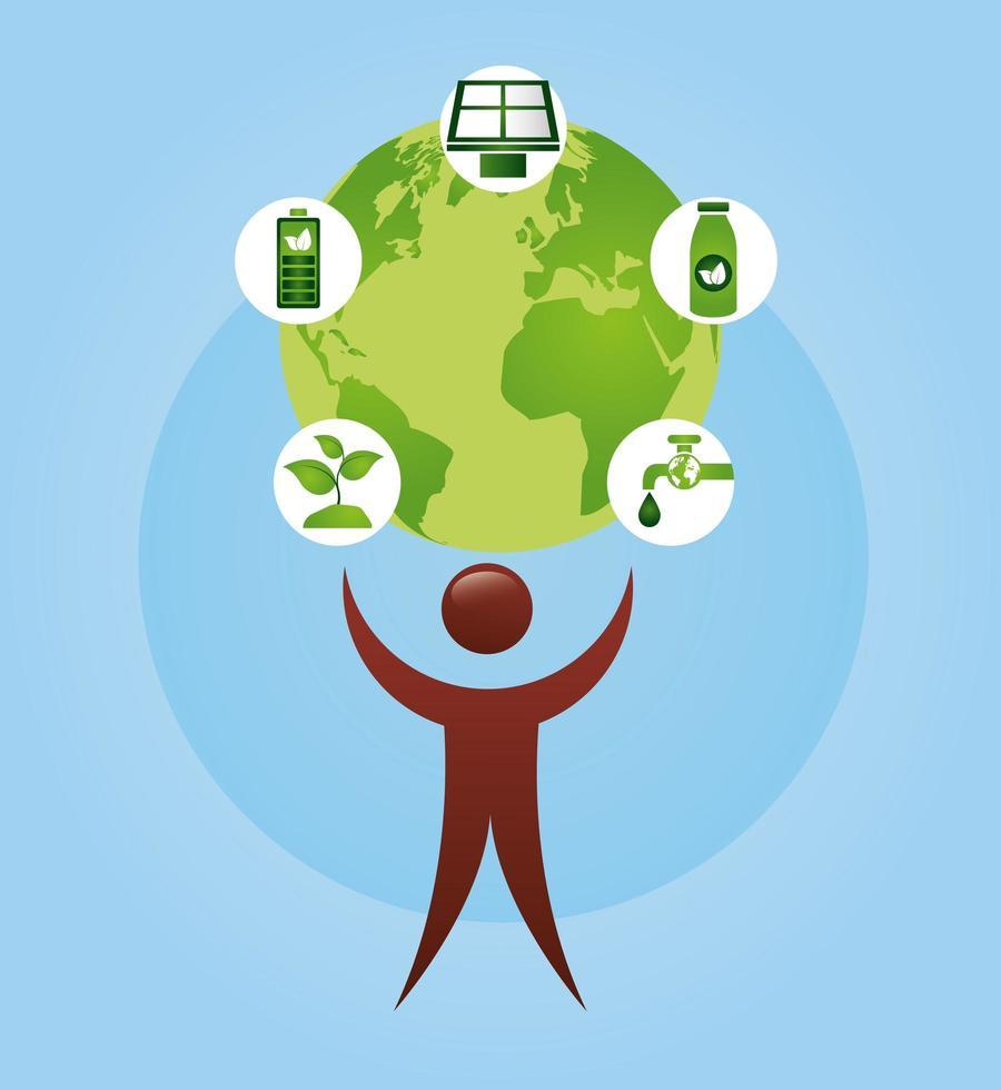 cartel ecológico con el planeta tierra y el carácter humano. vector
