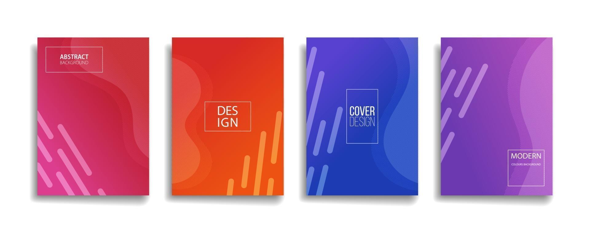 Diseño de portada de fondo de patrón de línea abstracta de color degradado brillante. diseño de fondo moderno con colores vibrantes vivos y de moda. Plantilla de portada de vector de cartel de cartel verde naranja rojo violeta azul.