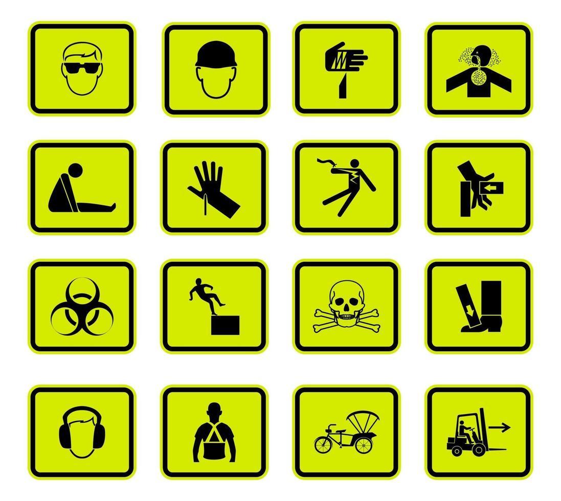 Warning Hazard Symbols labels Sign Isolated on White Background vector