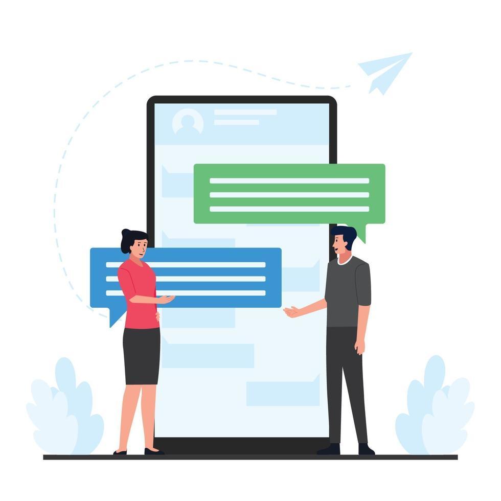 Ilustración de concepto de chat en línea vector