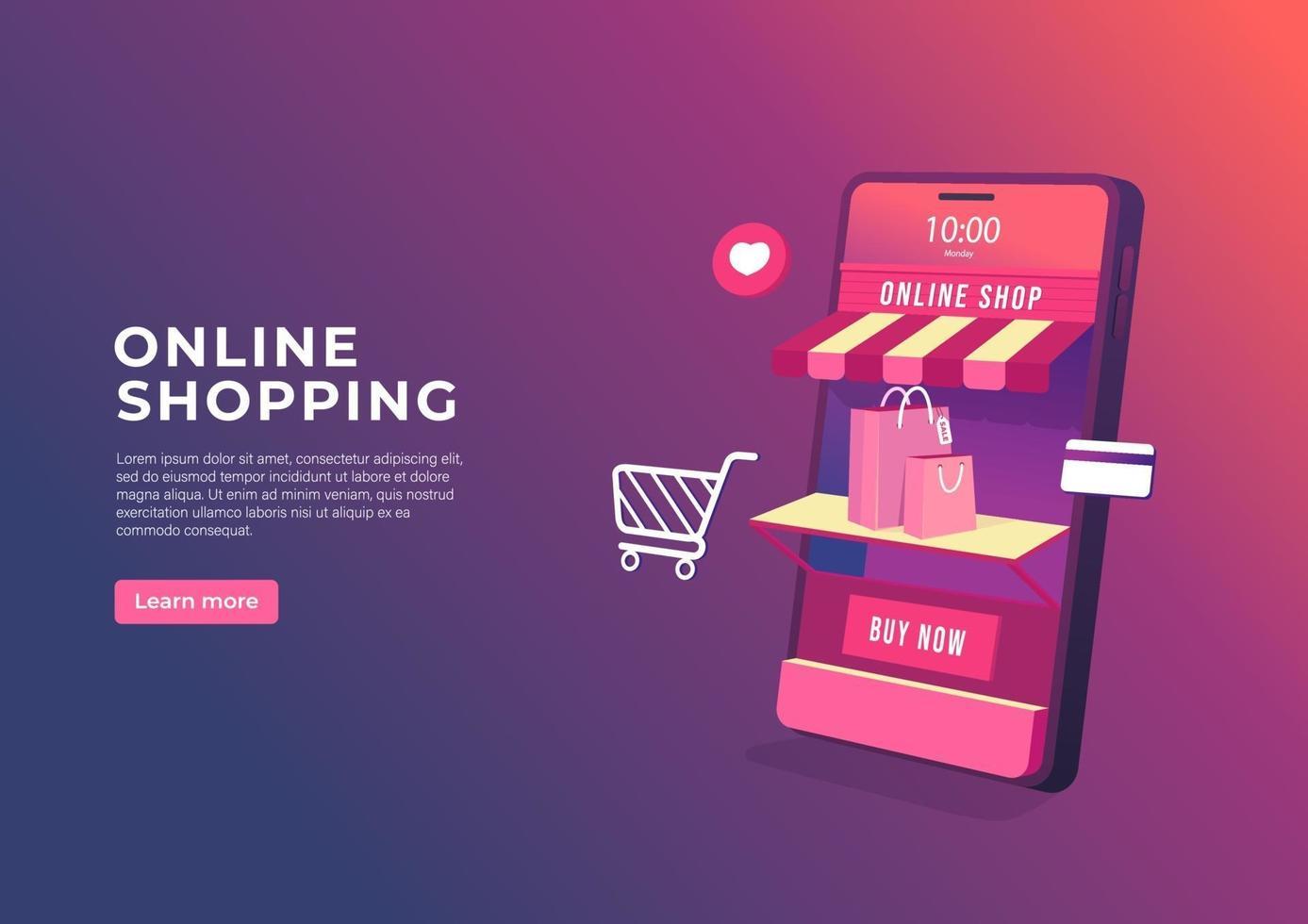 compras en línea en banner de aplicaciones móviles. Tienda en línea 3d en la plantilla de banner de teléfono móvil. vector