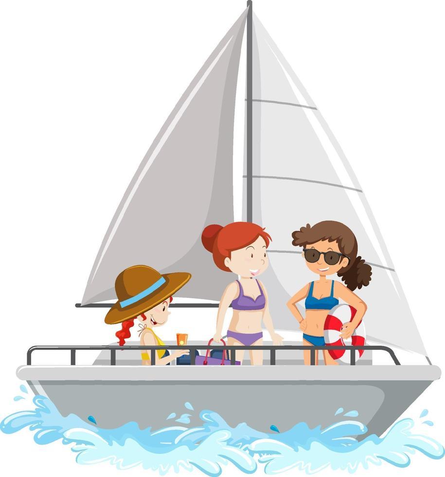 gente de pie en un velero aislado sobre fondo blanco vector