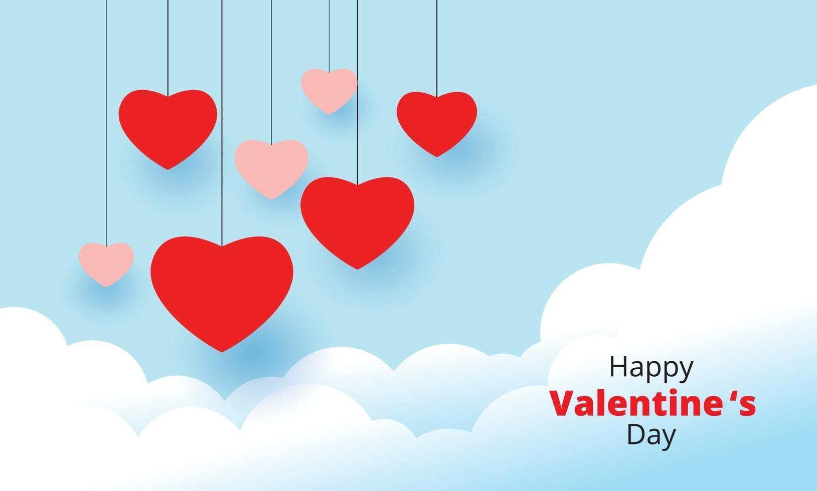 feliz dia de san valentin, fondo de corazones colgantes vector