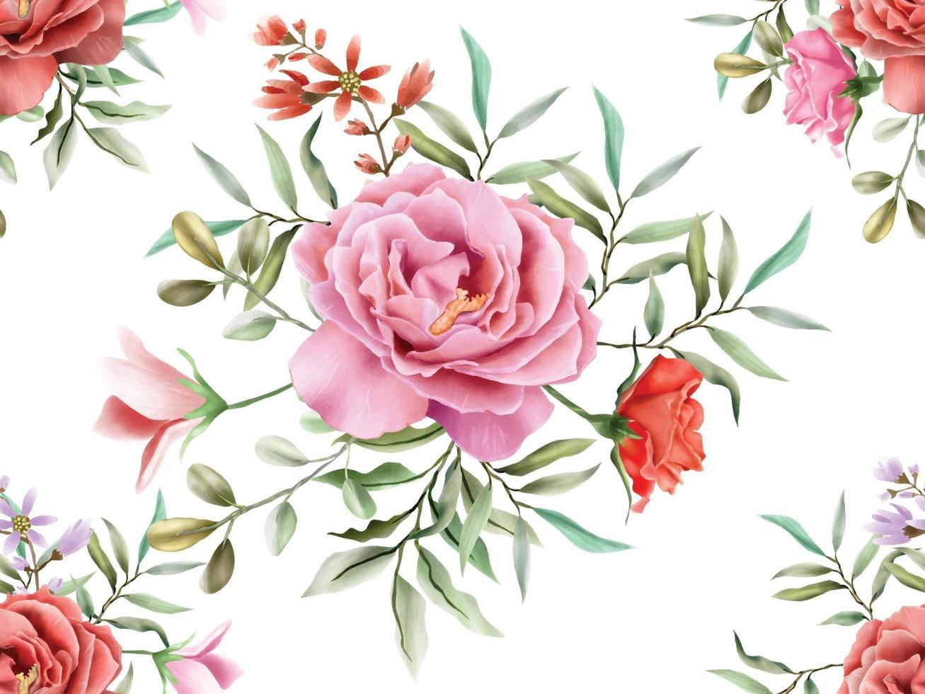 elegant seamless pattern with beautiful floral hand drawn design vector