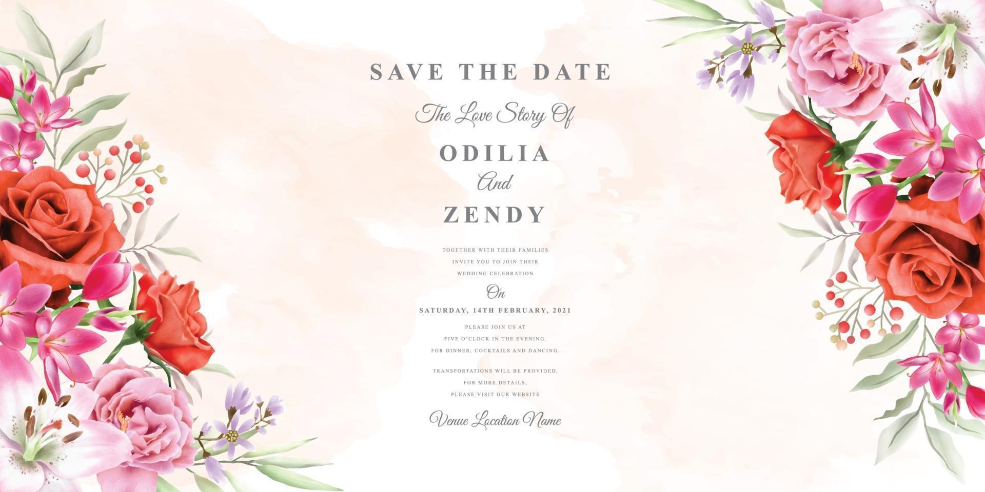 elegant wedding invitation template with beautiful floral design vector